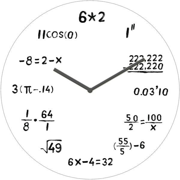 Szklany zegar Algebra, 30 cm