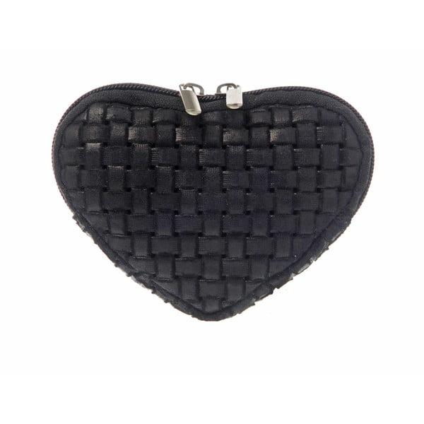 Zamszowa portmonetka Heart Black