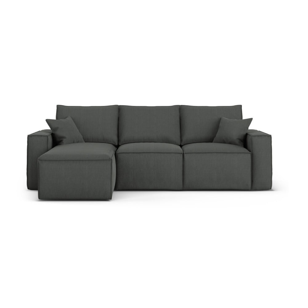 Ciemnoszara narożna sofa lewostronna Cosmopolitan Design Miami