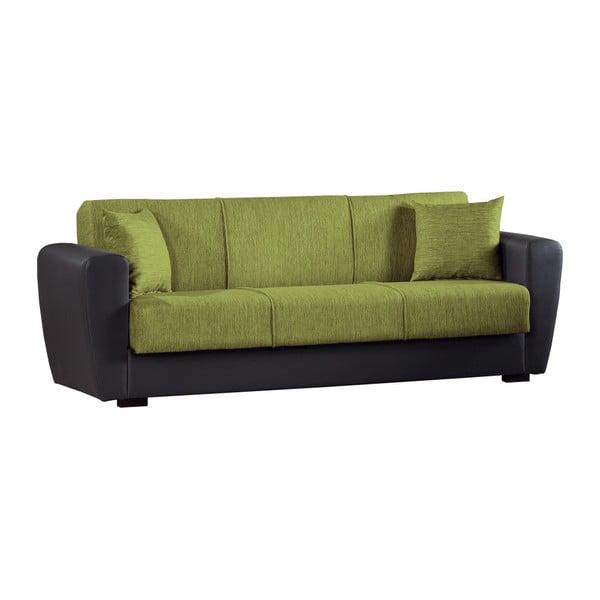 Zielono-czarna trzyosobowa sofa rozkładana ze schowkiem Esidra Comfort