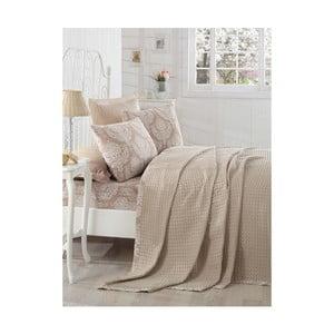 Kremowa narzuta na łóżko dwuosobowe z prześcieradłem i poszewkami na poduszki Karya Beige, 200x235cm