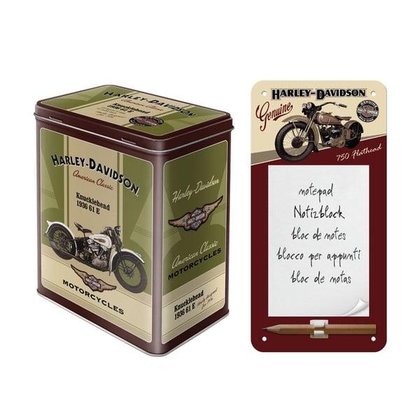 Zestaw notes i blaszany pojemnik Harley