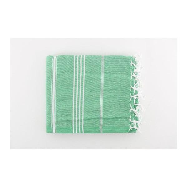 Zielony ręcznik Hammam Sultan Cagla, 100x180 cm
