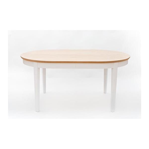 Biały stół rozkładany do jadalni z detalami z płyty dębowej We47 Family, 165x105cm