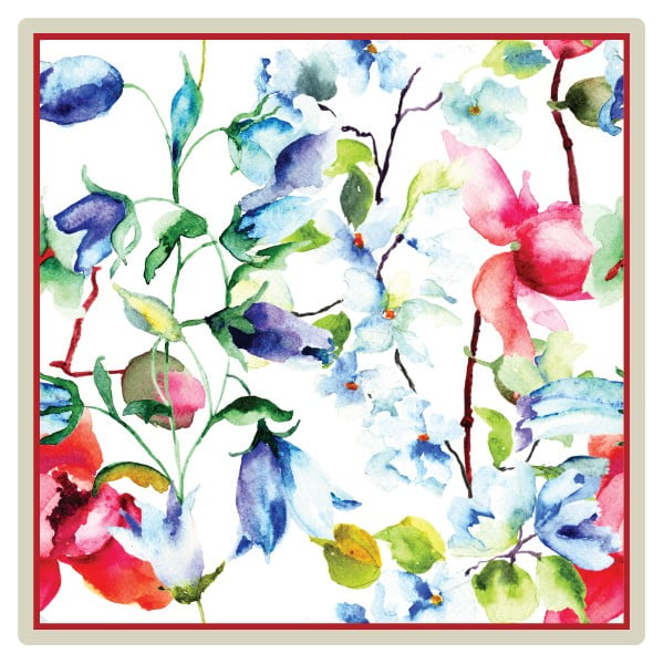 Zestaw 2 mat stołowych Flowers, 20x20 cm