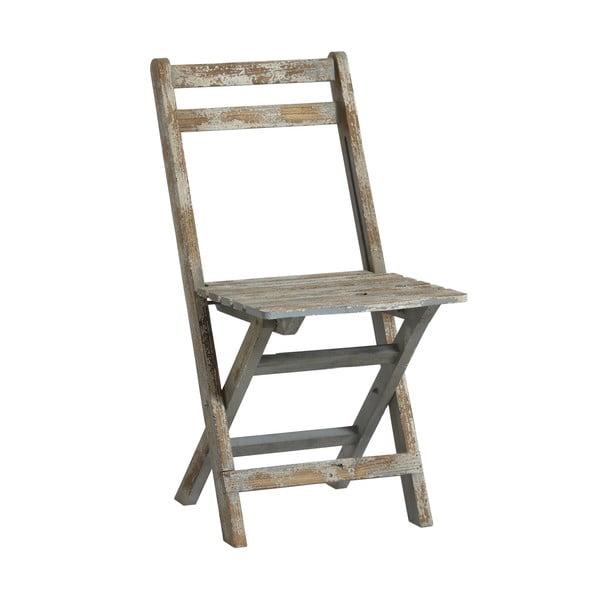 Drewniane krzesło Chair, niebieska patyna