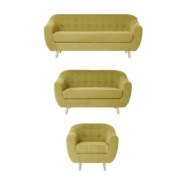 Żółty zestaw fotela i 2 sof dwuosobowej i trzyosobowej Jalouse Maison Vicky