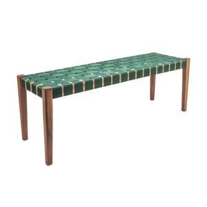 Zielona ławka z drewna akacjowego z nylonowym obiciem Karlsson Weave