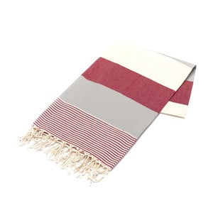 Ręcznik hammam American Stripes Red, 100x180 cm