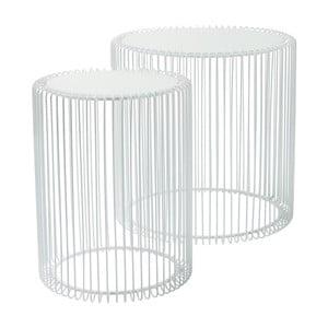 Zestaw 2 białych stolików Kare Design Wire High