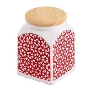 Ceramiczny pojemnik Czerwone słońce, 8.5x8.5x11 cm