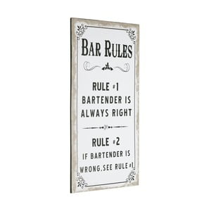 Tablica Bar Rules, 60x30 cm