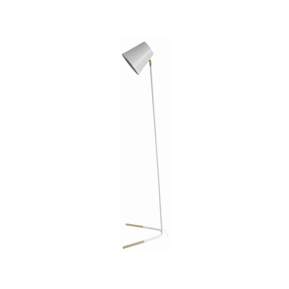 Biała lampa stojąca z detalami w złotej barwie Leitmotiv Noble