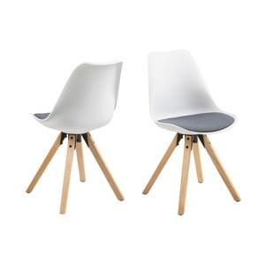 Zestaw 2 biało-szarych krzeseł Actona Damia