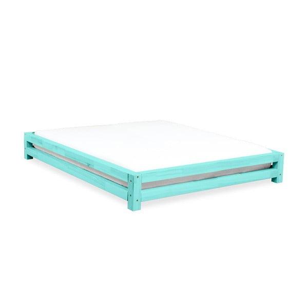 Turkusowe łóżko 2-osobowe z drewna sosnowego Benlemi JAPA, 180x200 cm