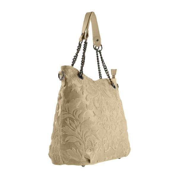 Brązowo-szara skórzana torba Greta