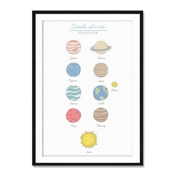 Oprawiony obraz Doodle Planets, 50x70 cm