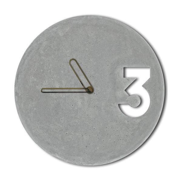Betonowy zegar Jakuba Velínskiego, złote kontury wskazówek