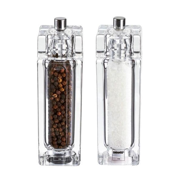 Komplet 2 młynków do soli i pieprzu Bisetti, 14,5 cm