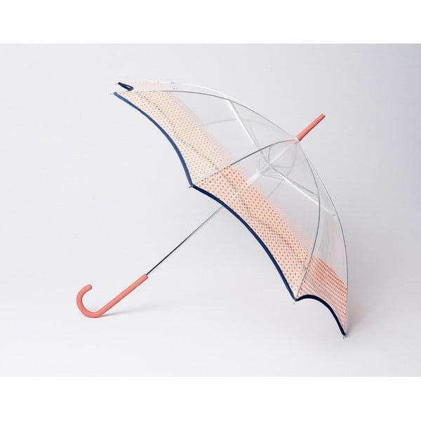 Przezroczysty parasol Vichy, pomarańczowy