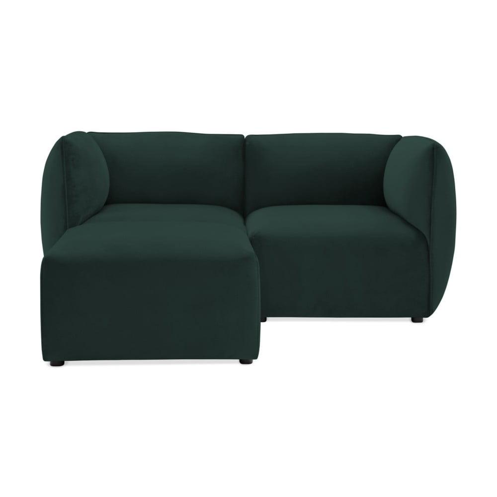 Ciemnozielona 2-osobowa sofa modułowa z podnóżkiem Vivonita Velvet Cube