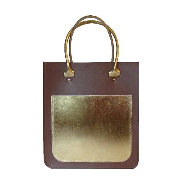 Skórzana torebka Two Tone Plum Chestnut/Gold
