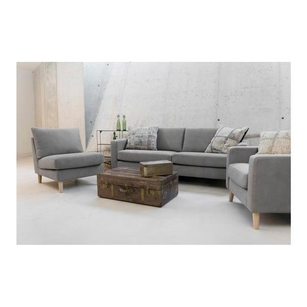 Jasnoszara sofa 3-osobowa z jasnymi nogami Vivonita Tom