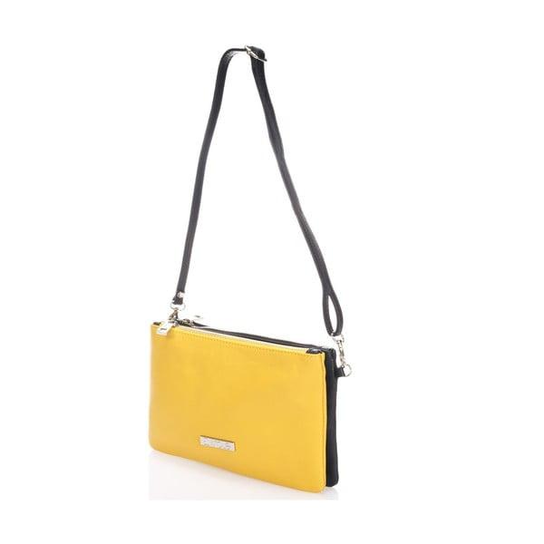 Skórzana torebka Krole Kody z 2 kieszonkami, żółta