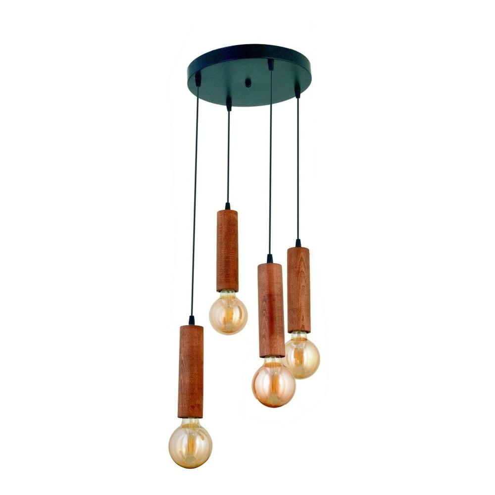 Lampa wisząca z drewna grabu Silindir 4lü