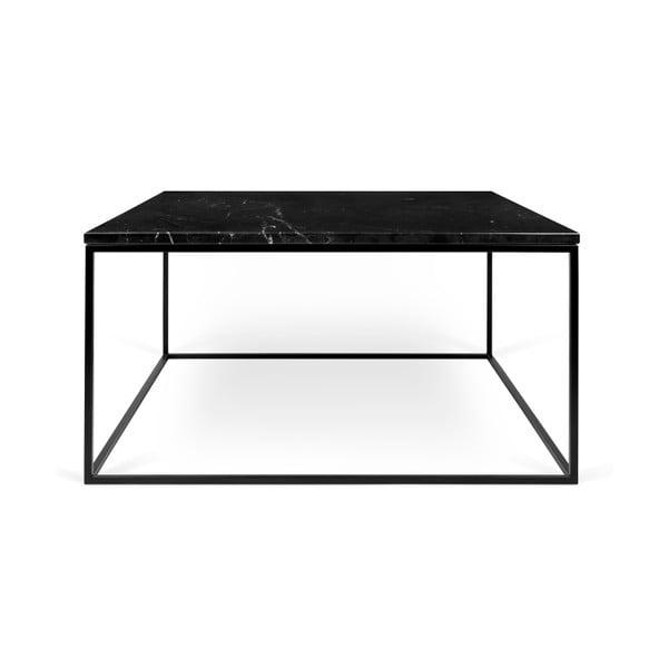 Czarny stolik marmurowy z czarnymi nogami TemaHome Gleam, 75 cm