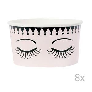 Zestaw 8 kubeczków papierowych na lody z łyżeczkami Miss Étoile Eyes And Dots