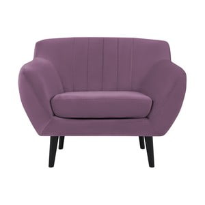 Fioletowy fotel z czarnymi nogami Mazzini Sofas Toscane