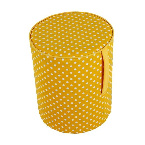 Okrągły puf Pois, żółty wzór
