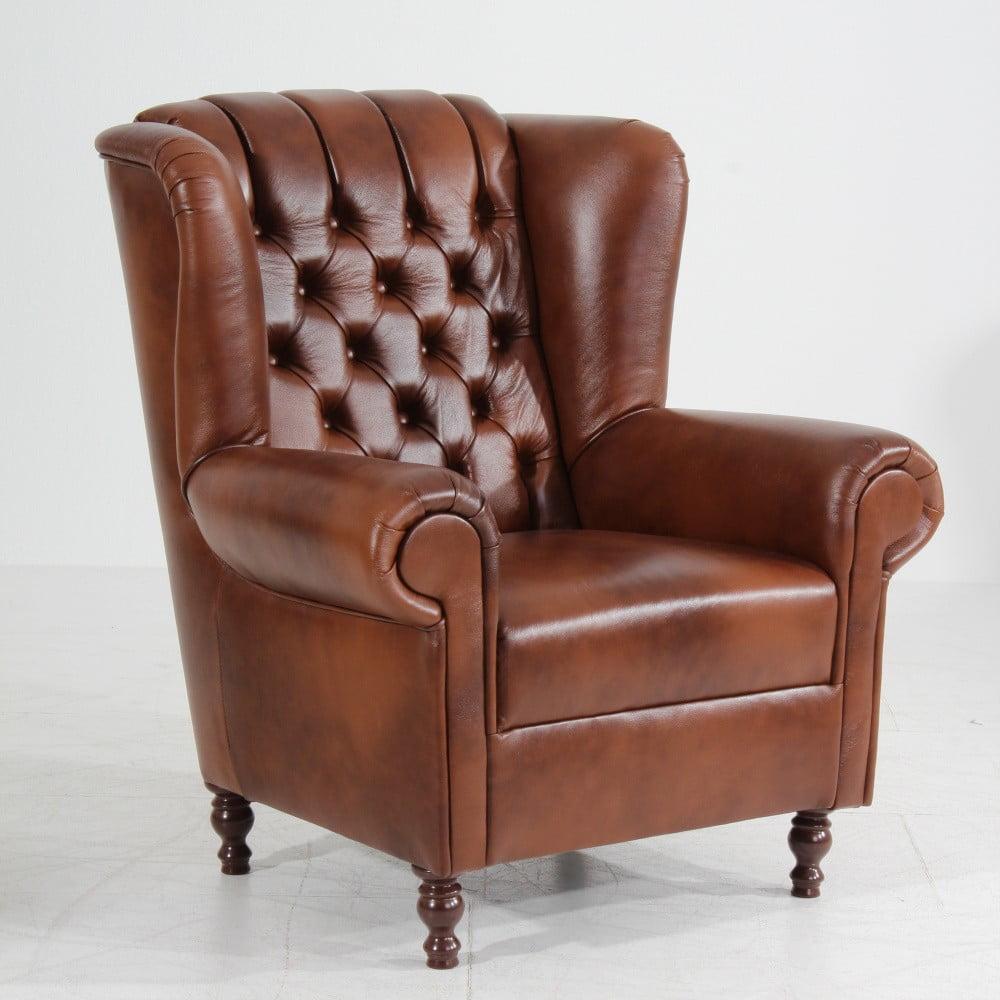 Brązowy fotel skórzany Max Winzer Vary