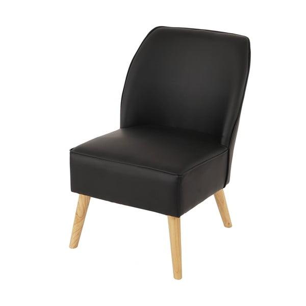 Fotel Vaasa, czarna skóra