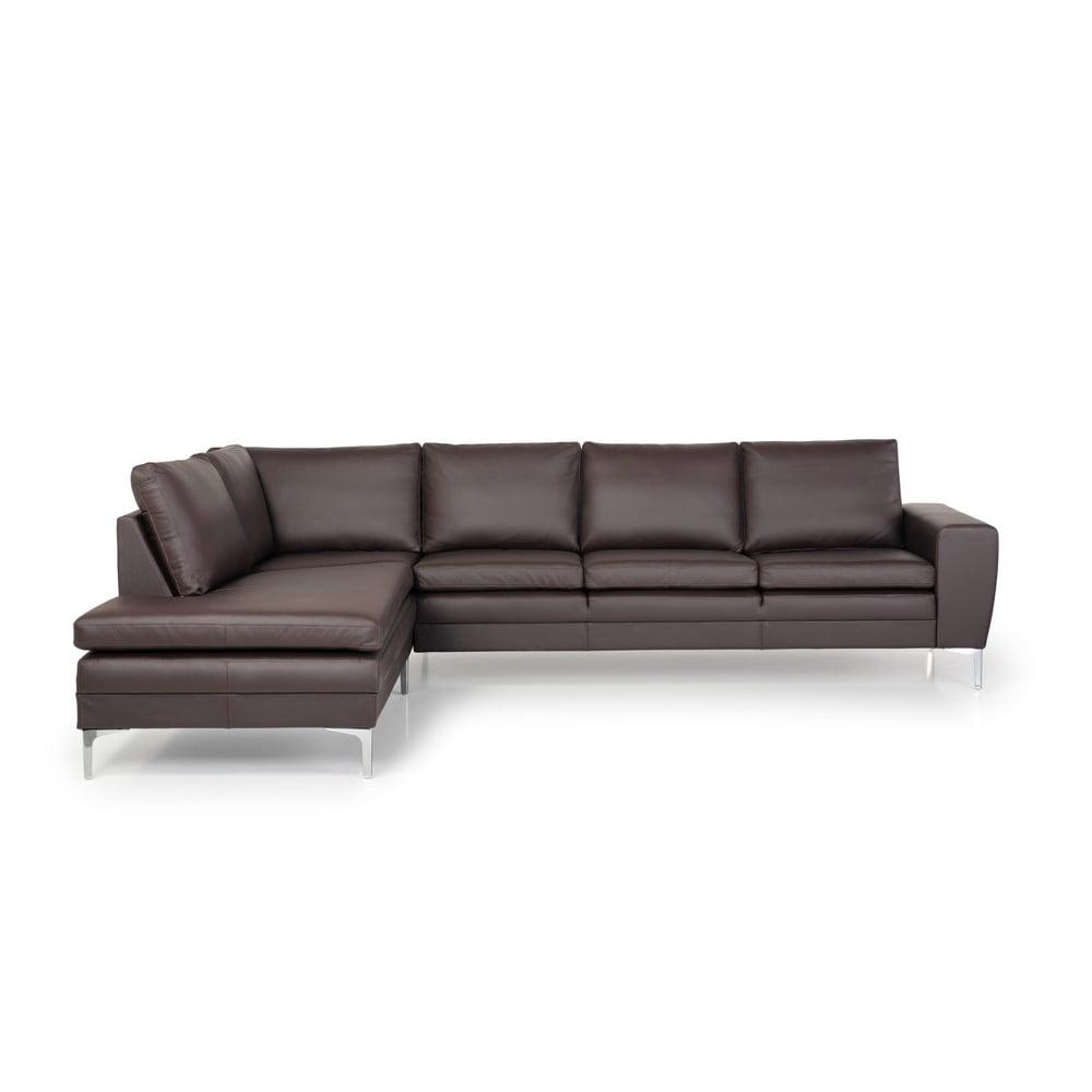 Brązowa sofa 3-osobowa z lewostronnym szezlongiem Softnord Twigo