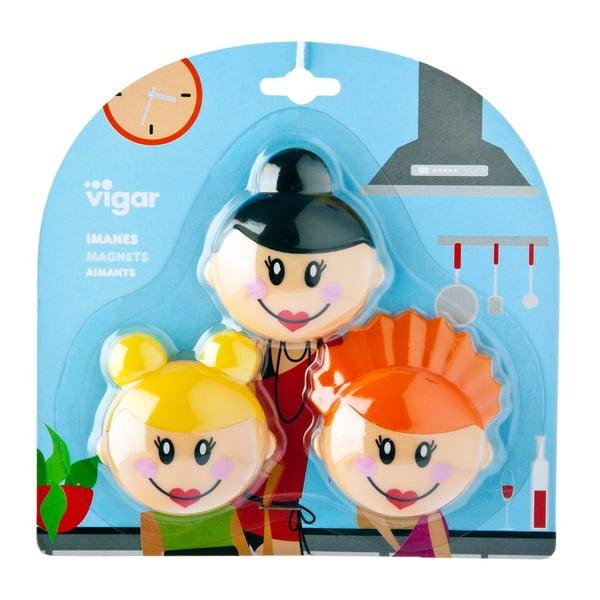 Zestaw 3 magnesów Vigar Faces