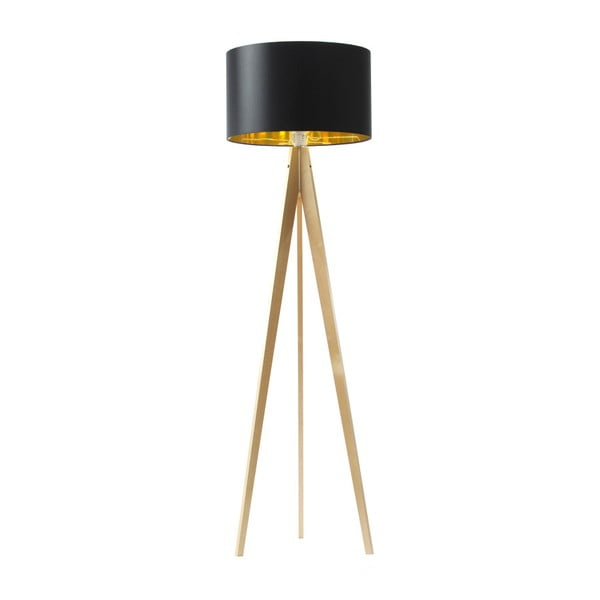 Czarno-złota lampa stojąca 4room Artist, brzoza, 150 cm