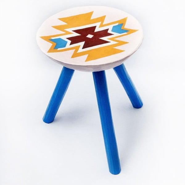 Ręcznie malowany taboret Viscri, 38 cm