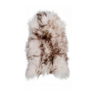 Brązowobiała skóra owcza z długim włosiem Ice, 100x60cm