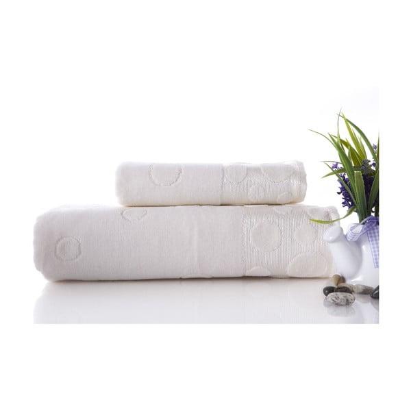 Zestaw 2 ręczników Tropical Ecru, 70x140 i 50x90 cm