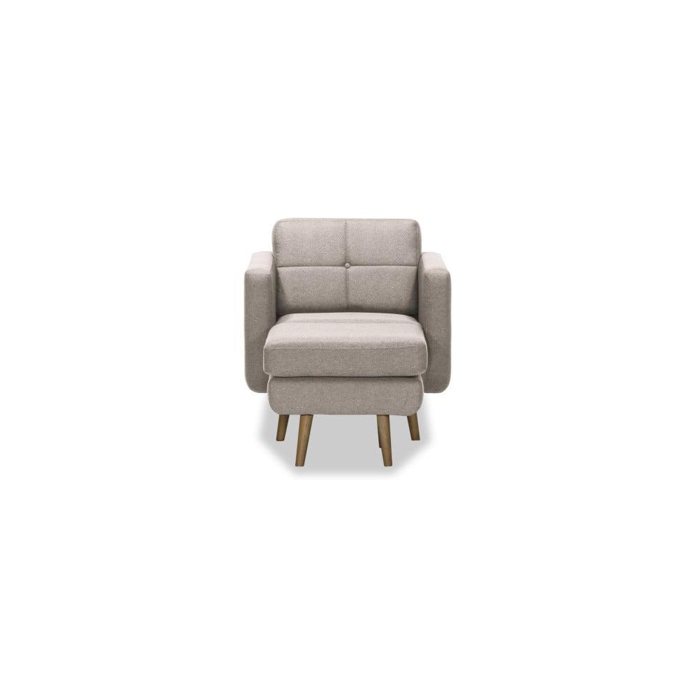 Beżowy fotel z pufem Vivonita Magnus