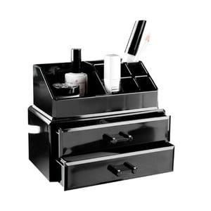 Czarny organizer na kosmetyki z dwiema szufladkami Compactor