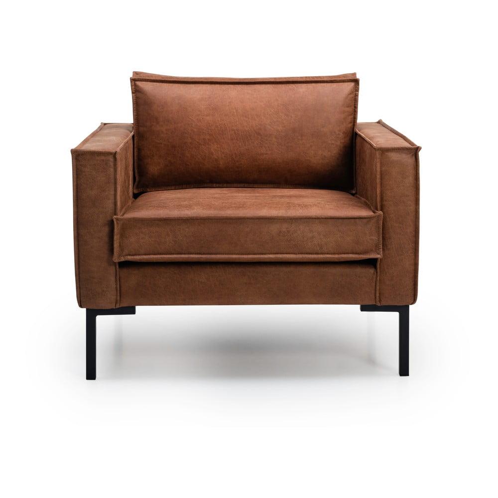 Jasnobrązowy fotel ze sztucznej skóry Scandic Rate