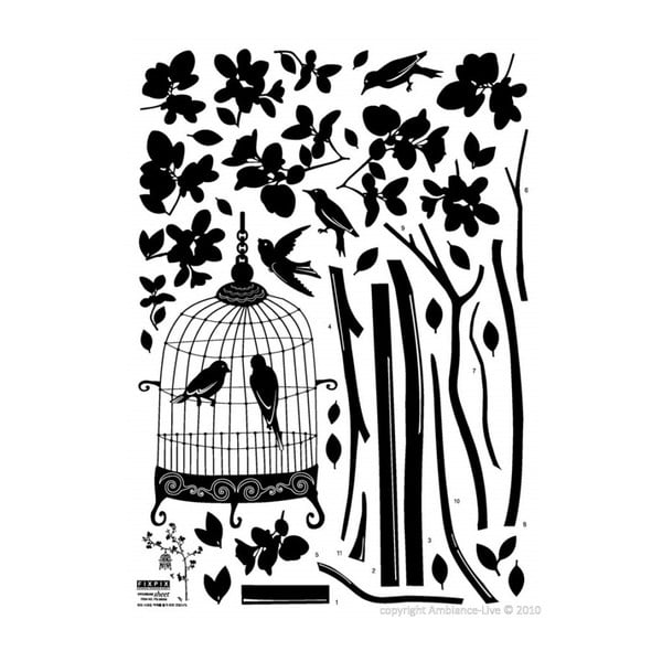Naklejka Ambiance Tree And Birds In A Cage
