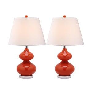 Zestaw 2 lamp stołowych z czerwoną podstawą Safavieh Gabriel