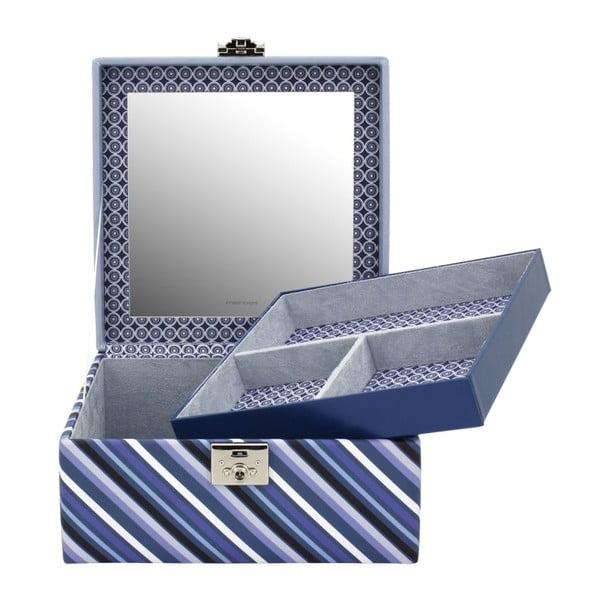 Niebieska szkatułka na biżuterię Friedrich Lederwaren Diagona, 23x23 cm