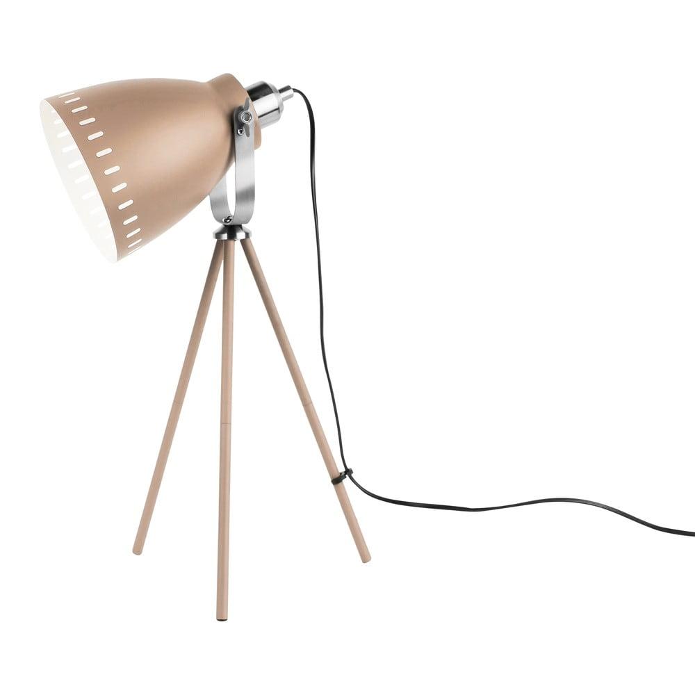 Piaskowobrązowa lampa stołowa z detalami w kolorze srebra Leitmotiv Mingle