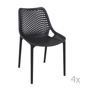 Zestaw 4 czarnych krzeseł ogrodowych Resol Grid