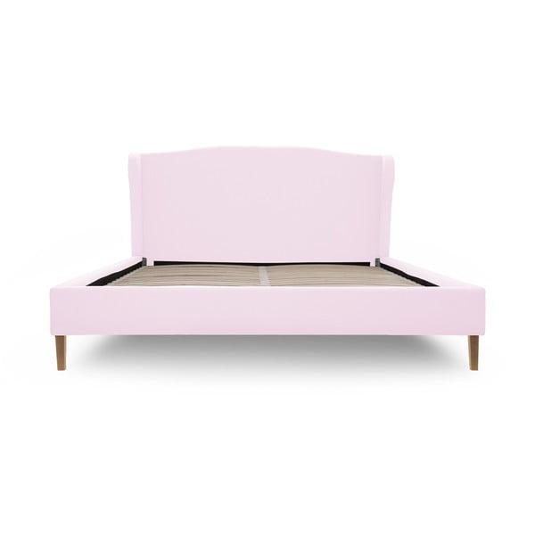 Pastelowo różowe łóżko z naturalnymi nóżkami Vivonita Windsor, 160x200 cm
